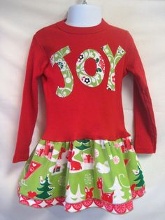 Girls Red Christmas Dress - JOY applique girl's holiday boutique dress outfit