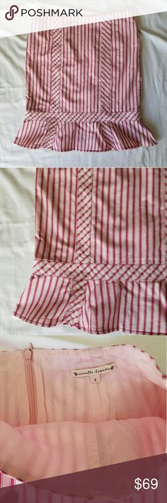 🔥SALE FINAL Nanette Lepore trumpet skirt Cotton/lycra blend. Beautiful striped pattern, mixed with gingham strips. Ruffle at the bottom for a trumpet effect. About 21 inches long, down the center. Nanette Lepore Skirts