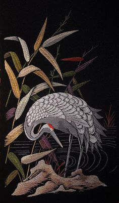 Japanese crane embroidery