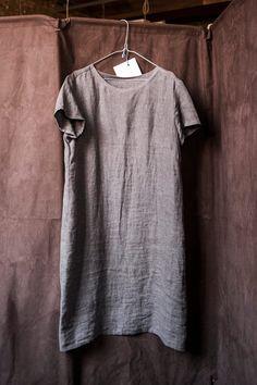 Merchant & Mills Camber Set dress in silt grey linen
