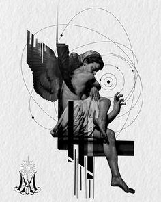 Geometric Tattoo Wrist, Journey Tattoo, Supernatural Theme, Gothic Pattern, Ancient Greek Sculpture, Statue Tattoo, Satanic Art, Mood Wallpaper, Collage Design