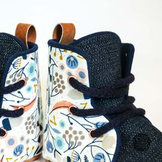 Snow Floral Soft Sole Baby and Toddler Hightop Shoes handmade in New Zealand Toddler Sneakers, Toddler Shoes, Baby Booties, Baby Shoes, Hightop Shoes, Boxing Boots, Dress Up Boxes, Shoes Handmade, Adventure Gear