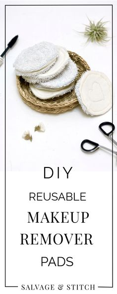 Break your cotton ball habit with these lovely DIY reusable makeup remover pads. Easy to make and zero waste, these pads are a great project when you're getting started with waste-free living. #wastefreeliving