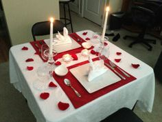 Valentine table set for dinner at home for two! Complements of Sean. Anniversary Cake Designs, 6th Anniversary Gifts, Anniversary Surprise, Anniversary Dinner, Anniversary Decorations, Romantic Dinner Tables, Romantic Dinner Setting, Romantic Dinners, Valentines Day Dinner
