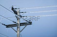 Líneas eléctricas con carámbanos.