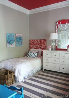 Teal & coral in the girls' bedroom: http://emilyaclark.blogspot.com/2013/05/the-girls-bedroom-adding-color.html