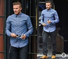 Celebrity Look Of The Day: David Beckham Blue Polka Shirt and Boots
