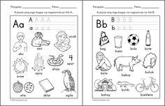 Preschool Filipino Worksheets Bundle Vol. 1st Grade Worksheets, Free Printable Worksheets, Alphabet Worksheets, Kindergarten Worksheets, Kids Worksheets, Printables, Teaching Kids, Kids Learning, Teaching Reading