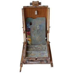 Vintage Wooden Artist Easel ($99) ❤ liked on Polyvore featuring easels, vintage home accessories, vintage home decor, wood wall art, wooden easel and vintage wall art