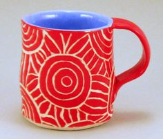 Bright Red & White Mug Sgraffito Carved Geometric Design Stoneware Pottery Cup