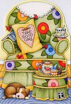 Mary Engelbreit Care Chair Get Well Card Get comfy, then get well! Mary Engelbreit, Illustrations, Illustration Art, Creation Photo, Get Well Cards, Paper Dolls, Tea Party, Cute Pictures, Whimsical