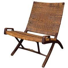 Hans Wegner Oak/Cane Folding Chair Stamped Johannes Hansen 1st Dibs $2800