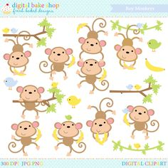 monkey clip art clip art banana birds animals - Girl Monkeys Clip Art This adorable Girl Monkeys Clip Art set is just too cute! Complete with several monkeys, bananas an Monkey Girl, Cute Monkey, Valentine Love, Valentine Day Cards, Monkey Illustration, Pretty Drawings, Art Craft Store, Cute Clipart, Digital Stamps