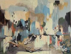 """Saatchi Art is pleased to offer the painting, """"Good Fortune,"""" by Leah Guzman, available for purchase at $6,400 USD. Original Painting: Canvas on Spray Paint, Acrylic. Size is 60 H x 72 W x 1.5 in."""