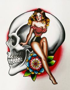 pin up and skull by angiethepirate girl lady flower old school traditional Tattoo Flash Art ~A.R.