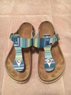 678dff8ba87638 BETULA Original Birkenstock Fussbett Striped Sandals Women s Size 7-1 2  EUR  38