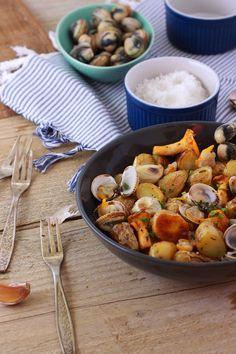 Salade de pommes de terre ratte aux coques et aux girolles | Summer salad whith potatoes, clams and mushrooms