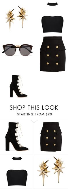 """""""Yes or No?🤔"""" by naidawest ❤ liked on Polyvore featuring Valentino, Balmain, Ludevine and Illesteva"""
