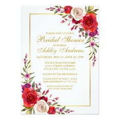Watercolor Floral Gold Bridal Shower Invitation S - gold wedding gifts customize marriage diy unique golden