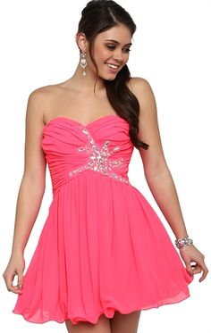 Short Prom Dress with Stone Side Waist Detail and Carefree Skirt