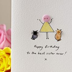 I've just found Personalised 'Button Pet' Handmade Birthday Card. A cute and whimsical, hand illustrated 'Button Pet' card, ideal for any occasion! Art Birthday, Birthday Cards For Men, Handmade Birthday Cards, Birthday Greeting Cards, Karten Diy, Button Cards, Cat Cards, Watercolor Cards, Homemade Cards