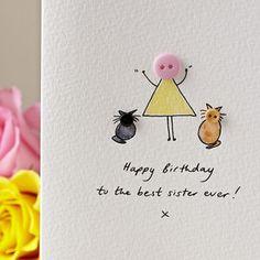 Personalised 'Button Pet' Handmade Birthday Card