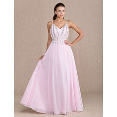 Sheath/Column V-neck Floor-length Chiffon Evening/Prom Dress (699385) – USD $ 149.99