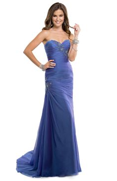 Chiffon Dress with Lace Applique softly bedazzled with rhinestones | FLIRT #blue #pastel #prom