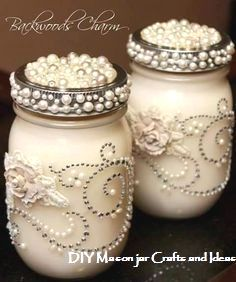 Mason Jar Centerpieces With Candles Embellish Mason jar with pearls, rhinestone, flowers and use as vases on the table. A smaller jar can be used for votives Mason Jar Projects, Mason Jar Crafts, Bottle Crafts, Diy Bottle, Mason Jar Centerpieces, Mason Jar Candles, Soy Candle, Centerpiece Ideas, Votive Candles