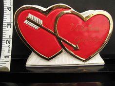 "VINTAGE CERAMIC ""VALENTINE GREETING"" DOUBLE HEART PLANTER VASE ARROW"