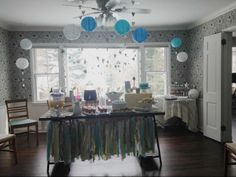 This shabby chic #babyboy shower is TO. DIE. FOR. Love the DIY heart garland and scrap fabric table banner!