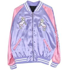 Magic Unicorn Bomber Jacket ($34) ❤ liked on Polyvore featuring outerwear, jackets, purple bomber jacket, flight jacket, purple jacket, blouson jacket and bomber jackets