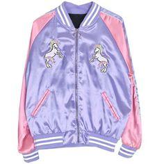 Magic Unicorn Bomber Jacket (530 ARS) ❤ liked on Polyvore featuring outerwear, jackets, flight jacket, bomber style jacket, purple bomber jacket, purple jacket and blouson jacket