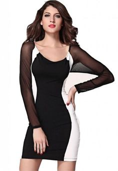 WIIPU womens Hourglass Mesh Long Sleeves Bodycon Dress(J2-34) Was: $99.99 Now: $38.99