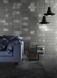 The Diesel Camp tile collection features the industrial textures of canvas and a glossy glazed finish. Hallway Console, Feature Tiles, Urban Loft, Grey Tiles, Ceramic Wall Tiles, Wall Installation, Interior Walls, Glazed Ceramic, Houses