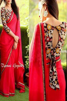 d3a6f53da51623 Shreeji Nx - Red designer georget saree Blouse Neck, Modern Blouse Designs,  Simple Saree