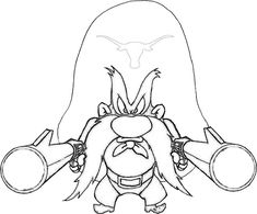 Printable Taz Wanted Yosemite Sam Character Coloring Pages