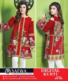 SAFWA WOMEN APPAREL BRAND - Pakistani dresses - Collections of summer and winter designer dresses, Pret shirts, kurtis, tops, 2 piece and 3 pieces dresses. Shop now Cash on Delivery. Pakistani Fashion Casual, Pakistani Outfits, Kurti Collection, Winter Collection, Printed Kurti, Printed Shirts, Textile Design, Textile Patterns, Designer Dresses