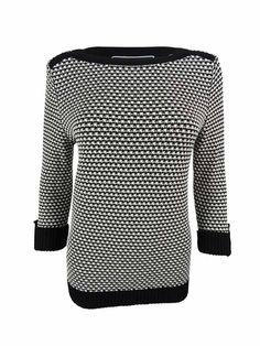 Karen Scott Women's 3/4 Sleeves Boat Neck Sweater