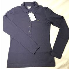 Lacoste Stretch Pique Long Sleeve Shirt NWT Lacoste Longsleeve shirt, it's a bit purplish blue, not entirely blue Lacoste Tops Tees - Long Sleeve