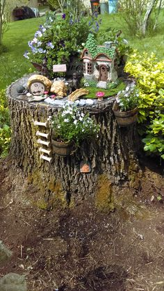 My Granddaughters inspired this stump fairy garden