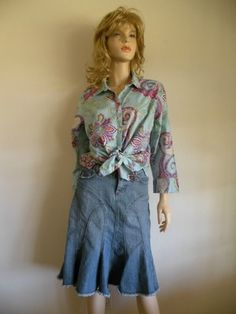 Vtg 80s 90s Boho Cottage Country Chic Blue Jean Denim Midi Tulip Skirt Sz 3  $28  Vintage Clothing & Fashion Finds