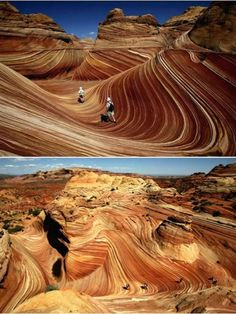 """The """"Wave"""" near the Utah-Arizona border. Only 20 permits to hike this are issued daily and you have to apply for a lottery-like draw four months in advance for a chance to hike here. Definitely a bucket list place!"""