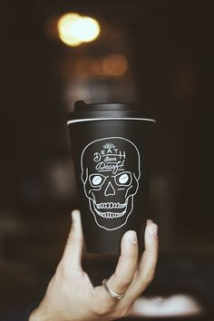 pandcoclothing:  'Death Before Decaf' reusable coffee cups...
