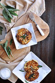 parmesan-ricotta spaghetti squash fritters with crispy fried sage {pretty serveware from @qsquarednyc} | the pig & quill | #grainfree #vegetarian #fall #recipe #qsquarednyc