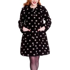 Hell Bunny Colette Wool Rich 50s Polka Dot Black Swing Coat Large Collar S - XL