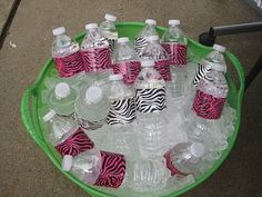 decorated water bottles with zebra print duct tape