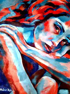 "Saatchi Online Artist Helena Wierzbicki; Painting, """"Embelished mind"""" woman with red and blue colored skin ART."