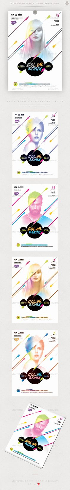 Color Remix Guest Dj Flyer Template PSD Poster/ Flyer Banner Design, Flyer Design, Music Flyer, Layout, Party Poster, Creative Posters, Party Flyer, Design Reference, Magazine Design