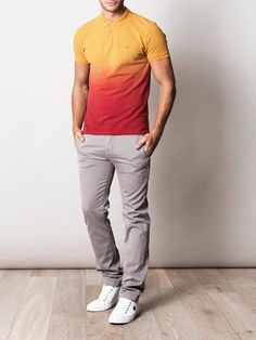 Ombré shirt. #orange #red #polo #mensfashion #modern #jeans #white #grey #style